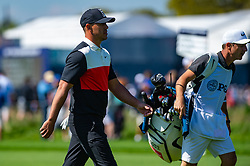 May 16, 2019 - Farmingdale, NY, U.S. - FARMINGDALE, NY - MAY 16: Brooks Koepka of the United States walks the fairway with his caddie on the 12th hole during Round One of the PGA Championship Tournament on May 16, 2019, at Bethpage State Park in Farmingdale, NY (Photo by John Jones/Icon Sportswire) (Credit Image: © John Jones/Icon SMI via ZUMA Press)