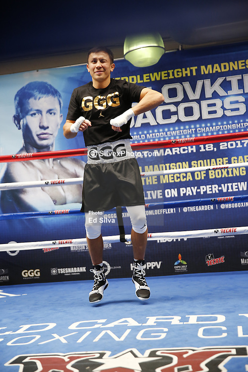 """SANTA MONICA, CA - FEBRUARY 28 WBA/IBF middleweight champion GENNADY """"GGG"""" GOLOVKIN (36-0, 33 KO's) decided to do his usual, full fledged training session with his trainer Abel Sanchez, during the media workout at Wild Card West Boxing Gym in Santa Monica, California, USA. GGG will face DANIEL """"THE MIRACLE MAN"""" JACOBS,(32-1, 29 KO's) Saturday March 18, 2017 at The Madison Square Garden in New York. The championship event will be produced and distributed live by HBO Pay-Per-View beginning at 9:00 p.m. ET/6:00 p.m. PT. ET/PT. 2017 February 28.  Byline, credit, TV usage, web usage or linkback must read SILVEXPHOTO.COM. Failure to byline correctly will incur double the agreed fee. Tel: +1 714 504 6870."""