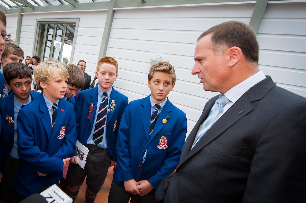 The Rt. Hon. John Key, Prime Minister  speaks with Wellesley College students at the entrance to the new library building immediately prior to the official opening ceremony begins . Wednesday 21st March 2012...Photo by Mark Tantrum   www.marktantrum.com
