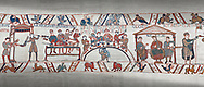 Bayeux Tapestry scene 43 - 44:  Duke William, his barons and Bishop Odo hold a banquet to celebrate their safe arrival in England. .<br /> <br /> If you prefer you can also buy from our ALAMY PHOTO LIBRARY  Collection visit : https://www.alamy.com/portfolio/paul-williams-funkystock/bayeux-tapestry-medieval-art.html  if you know the scene number you want enter BXY followed bt the scene no into the SEARCH WITHIN GALLERY box  i.e BYX 22 for scene 22)<br /> <br />  Visit our MEDIEVAL ART PHOTO COLLECTIONS for more   photos  to download or buy as prints https://funkystock.photoshelter.com/gallery-collection/Medieval-Middle-Ages-Art-Artefacts-Antiquities-Pictures-Images-of/C0000YpKXiAHnG2k