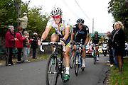 France, October 9 2011: HTC - HIGHROAD'S John DEGENKOLB leads SKY PROCYCLING's Mathew HAYMAN up the Côte de l'Epan climb of the 2011 edition of the Paris Tours cycle race. Copyright 2011 Peter Horrell
