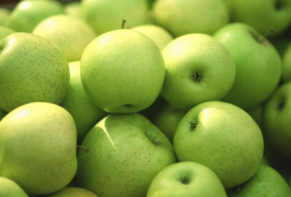 Close up selective focus photograph of a pile of Mutsu apples
