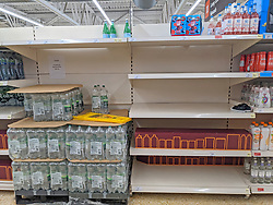 © Licensed to London News Pictures 20/09/2021. <br /> Sevenoaks, Empty shelves in the water aisle at Sainsburys in Sevenoaks, Kent today. Supermarket shortages are continuing across the UK due to a lack of supply and a shortage of lorry drivers which is expected to get a lot worse over the next few months. Photo credit:Grant Falvey/LNP