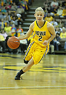January 08 2010: Iowa guard Kamille Wahlin (2) drives with the ball during the first half of an NCAA womens college basketball game at Carver-Hawkeye Arena in Iowa City, Iowa on January 08, 2010. Iowa defeated Ohio State 89-76.