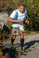 Cragsmoor, New York - A runner in the 30-mile race follows the trail near Sam's Point during the Shawangunk Ridge Trail Run/Hike on Sept. 16, 2017.