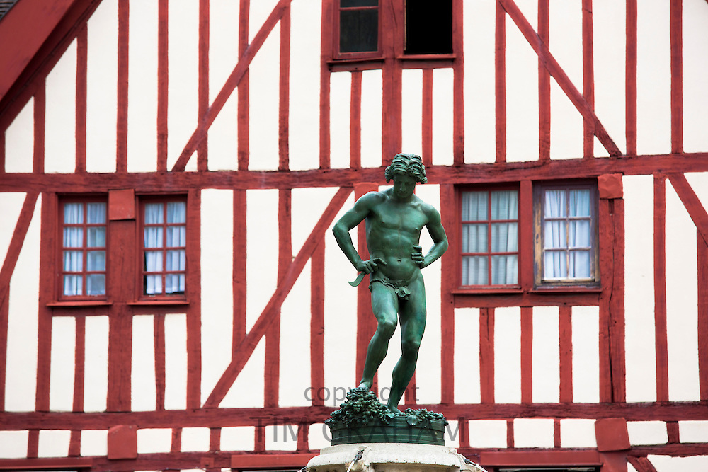 Statue of Bareuzai in the old town in Dijon in the Burgundy region of France