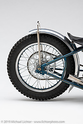 OceanBlu is a handmade Speedway race bike built by Samuele Reali of Abnormal Cycles, Milan, Italy was built as a Tribute to Franz Langher. The one speed NSU SSR 500 CC Langher Monocilindrico is a powerful yet simple bike with no brakes, lights or electronics and is made to only go left!  What's the Skinny? 2019 exhibition artwork from the Motorcycles as Art series at the Sturgis Buffalo Chip. Sturgis, SD, USA. Monday, July 29, 2019. Photography ©2019 Michael Lichter.