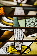 Stained glass depicting a dove at Zion Lutheran Church, Belleville, Ill., on Wednesday, Feb. 10, 2021. LCMS Communications/Erik M. Lunsford