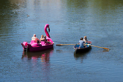 © Licensed to London News Pictures. 22/06/2019. Warwick, Warwickshire, UK. People on rowing boats and pedalos enjoy the weather on the river Avon by Warwick Castle during a hot summers day. Photo credit: LNP