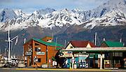 Alaska. Seward Harbor - shop, boat tour offices and Harbormaster Office.