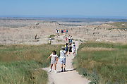 tourist in Badlands National Park