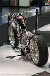 Christopher Marschka's Patriot Special custom on a Rick Bray Dropseat Frame from Wurttemberg, Germany on display in the AMD World Championship of Custom Bike Building in the custom themed Hall 10 at the Intermot Motorcycle Trade Fair. Cologne, Germany. Tuesday October 4, 2016. Photography ©2016 Michael Lichter.