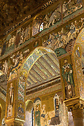 Religious art depicting Christian figures and saints in gold mosaics in the Palatine Chapel (Capella Palatina) at the Palazzo dei Normanni, Palermo, Sicily.