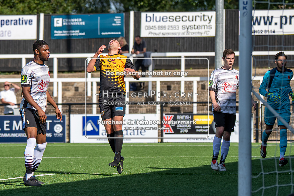 BROMLEY, UK - SEPTEMBER 08: Joseph Taylor, of Cray Wanderers FC, rues missing a chance during the Emirates FA Cup First Qualifying Round match between Cray Wanderers FC and Bedfont Sports Club at Hayes Lane on September 8, 2019 in Bromley, UK. <br /> (Photo: Jon Hilliger)