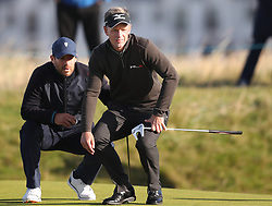 Jamie Redknapp (left) and England's Luke Donald on the fourth green during day two of the Alfred Dunhill Links Championship at Carnoustie.