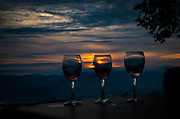Wine in the sunset over Volos