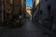 Waski Dunaj Street in the Old town of Warschau, Poland 2018.