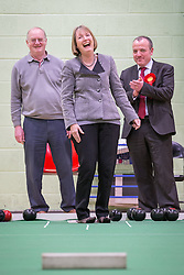 © Licensed to London News Pictures . 27/01/2014 . Manchester , UK . The Deputy Leader of the Labour Party , Harriet Harman and Mike Kane (r) bowling in the gym at the launch of Mike Kane's campaign for the Wythenshawe East and Sale by-election at the Woodhouse Park Lifestyle Centre in Wythenshawe , today (27th January 2014) . Photo credit : Joel Goodman/LNP