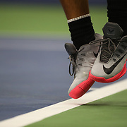 2017 U.S. Open Tennis Tournament - DAY TWO. The feet of Rafael Nadalof Spain serving against DusanLajovic of Serbia during the Men's Singles round one match at the US Open Tennis Tournament at the USTA Billie Jean King National Tennis Center on August 29, 2017 in Flushing, Queens, New York City.  (Photo by Tim Clayton/Corbis via Getty Images)