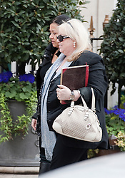 © London News Pictures. 16/04/2012. London, UK.  Dwina Gibb, the wife of singer Robin Gibb of the Bee Gees musical group arrives at The London Clinic in central London on April 16, 2012. Robin Gibb, singer with the legendary British band the Bee Gees, is in a coma in hospital  after contracting pneumonia in his battle against cancer. Photo credit :  Ben Cawthra/LNP