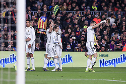 February 6, 2019 - Barcelona, Spain - 17 Lucas Vazquez of Real Madrid celebrating his goal with his team during the semi-final first leg of Spanish King Cup / Copa del Rey football match between FC Barcelona and Real Madrid on 04 of February of 2019 at Camp Nou stadium in Barcelona, Spain  (Credit Image: © Xavier Bonilla/NurPhoto via ZUMA Press)