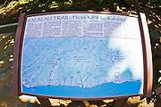 Trail signat the start of the Kalalau Trail, Na Pali Coast, Island of Kauai, Hawaii