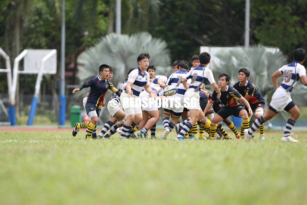 PESEB (former CCAB), Evans Road, Monday, February 25, 2013 – Defending champions St Andrew's Secondary needed a lucky break to beat Anglo-Chinese School (Baker Road) 14-12 at the death in Round 1 of the National B Division Rugby Championship.<br /> <br /> Story: http://www.redsports.sg/2013/02/27/b-div-rugby-saints-acs-barker/