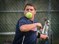 Nick Barone of Brookdale Community College in action against Ocean County College on Monday, April 28, 2014. /Russ DeSantis