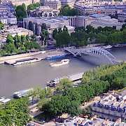 Steel bridge over Seine river, Paris