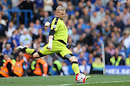 Goalkeeper Kasper Schmeichel of Leicester City in action. Barclays Premier league match, Chelsea v Leicester city at Stamford Bridge in London on Sunday 15th May 2016.<br /> pic by John Patrick Fletcher, Andrew Orchard sports photography.