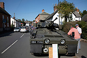 Vintage military vehicles on show at the annual Michaelmas Fair in the small market town of Bishops Castle, England, United Kingdom.