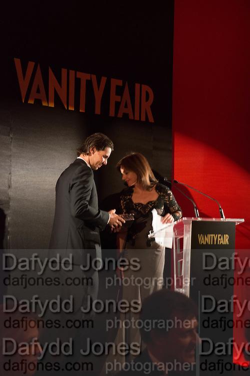 LOURDES GARZON; RAFA NADAL, Vanity Fair Person of the year. Italian Consulate. Madrid. 17 September 2012.