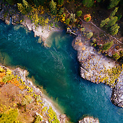 An aerial perspective over the Snake River during autumn color exlposion.