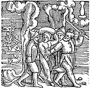 Moses, shown as so often with horns of hair, leading the Children of Israel out of Egyptian bondage.  From Conrad Lycosthenes 'Prodigiorum ac Ostentorum chronicon' Conrad Lycosthenes (Basel 1557).  Woodcut.
