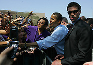 Edinburg, TX - 22 Feb 2008 -.Sen. Barack Obama shakes hands with audience members after speaking at his campaign rally at UTPA on Friday morning.