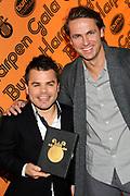 Buma Harpen Gala 2011 AWARDS vanuit de Vredenburg Leidsche Rijn , Utrecht.<br /> <br /> Op de foto:  Buma Gouden Harp voor Roel van Velzen hier met John Ewbank