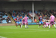 Scunthorpe United defender Charlie Goode (20) scores goal to go 3-1 during the EFL Sky Bet League 1 match between Scunthorpe United and Rochdale at Glanford Park, Scunthorpe, England on 8 September 2018. Photo Ian Lyall