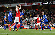 Arsenal's Nacho Monreal fires in a shot which gets deflected in by Leicester's Robert Huth during the Premier League match at the Emirates Stadium, London. Picture date: April 26th, 2017. Pic credit should read: David Klein/Sportimage