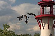 Stunts, Legoland theme park with lego model village, rides, gold panning, car racing Windsor, UK