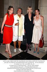 Left to right, MISS DAISY DE VILLENEUVE, her father JUSTIN DE VILLENEUVE, JAN DE VILLENEUVE and MISS POPPY DE VILLENEUVE,  at an exhibition in London on 14th July 2003.PLL 13