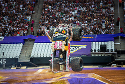 December 16, 2017 - Sao Paulo, Sao Paulo, Brazil - Zombie is  upright during a round of racing. Monster Jam was held at Corinthians Stadium, in Sao Paulo, Brazil. (Credit Image: © Paulo Lopes via ZUMA Wire)