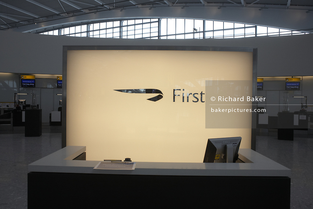 British Airways First Class landside check-in counter at newly-opened London Heathrow Airport's Terminal 5 building.