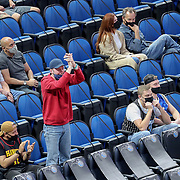 ORLANDO, FL - MARCH 03: An Atlanta Hawks fan celebrates a last second point against the Orlando Magic during the second half at Amway Center on March 3, 2021 in Orlando, Florida. NOTE TO USER: User expressly acknowledges and agrees that, by downloading and or using this photograph, User is consenting to the terms and conditions of the Getty Images License Agreement. (Photo by Alex Menendez/Getty Images)*** Local Caption ***