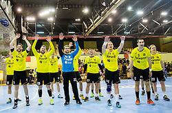 Players of Gorenje celebrate after winning during handball match between RK Gorenje Velenje (SLO) and Pfadi Winterthur (SUI) in Group Phase of EHF European Cup 2014/15, on March 8, 2015 in Rdeca dvorana, Velenje, Slovenia. Photo by Vid Ponikvar / Sportida