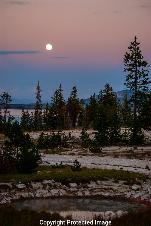Full Moon over West Thumb Mud Pot, Yellowstone National Park.