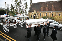 "© Licensed to London News Pictures. 13/02/2020. Sevenoaks, UK. The coffins and mourners leave St John the Baptist church in Sevenoaks, Kent following the funreal service of traveller brothers Billy and Joe Smith. The twin brothers, who were made famous by the television programme ""My Big Fat Gypsy Wedding"", were found hanged in woodland three days after Christmas. Photo credit: Ben Cawthra/LNP"