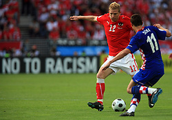 Ronald Gercaliu of Austria vs Darijo Srna of Croatia during the UEFA EURO 2008 Group B soccer match between Austria and Croatia at Ernst-Happel Stadium, on June 8,2008, in Vienna, Austria.  (Photo by Vid Ponikvar / Sportal Images)