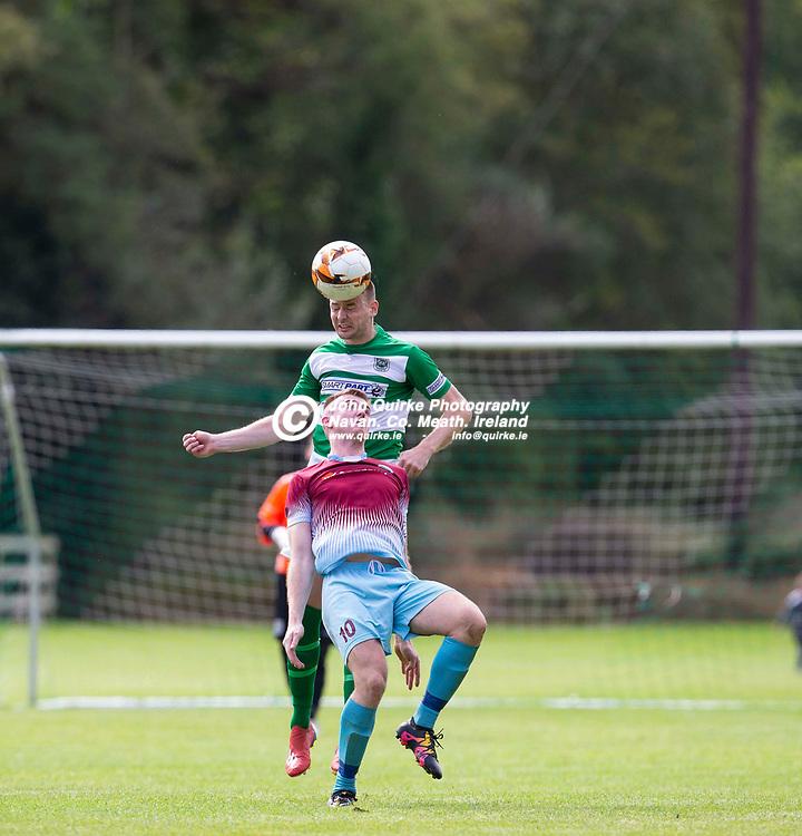 01/09/2019, Premier Soccer at Tully Park, Trim<br /> NEFL Premier title decider - Trim Celtic vs Parkvilla<br /> Sean Fitzgerald (Trim Celtic) & Lee Fahy (Parkvilla)<br /> Photo: David Mullen / www.quirke.ie ©John Quirke Photography, Unit 17, Blackcastle Shopping Cte. Navan. Co. Meath. 046-9079044 / 087-2579454.<br /> ISO: 400; Shutter: 1/1250; Aperture: 4; <br /> File Size: 2.3MB