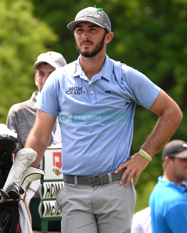 May 4, 2019 - Charlotte, NC, USA - Max Homa waits to hit from the 8th tee at Quail Hollow Club in Charlotte, N.C., during third-round action of the Wells Fargo Championship on Saturday, May 4, 2019. (Credit Image: © TNS via ZUMA Wire)