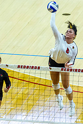 BLOOMINGTON, IL - August 13:  Tamara Otene during a college Women's volleyball Scrimmage of the Illinois State Redbirds on  August 13 2021 at Illinois State University in Normal, IL. (Photo by Alan Look)